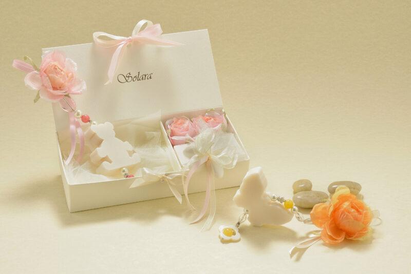 Cofanetto Solara con orsetto, fiori e farfalla