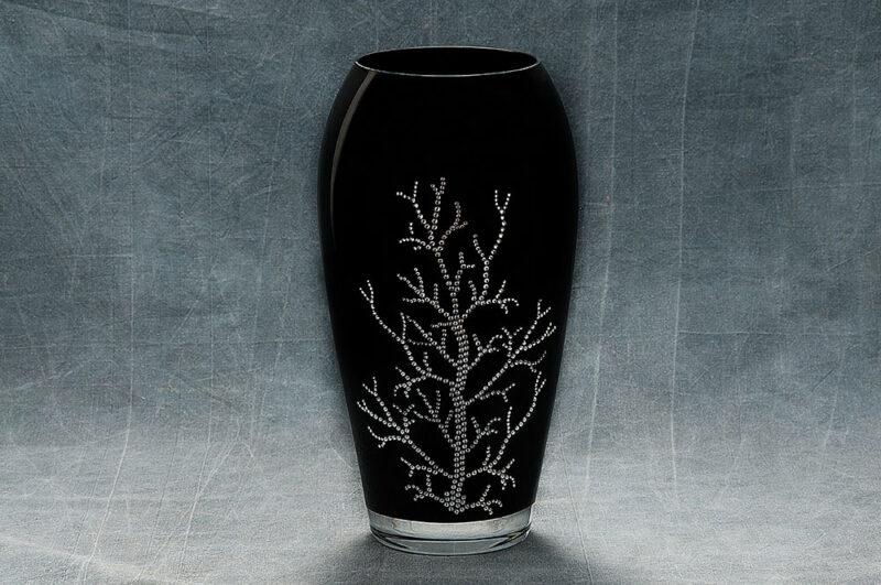 """Collezione """"CORALLO"""" di Carlo Pignatelli: Vaso con decoro strass, altezza cm 30."""