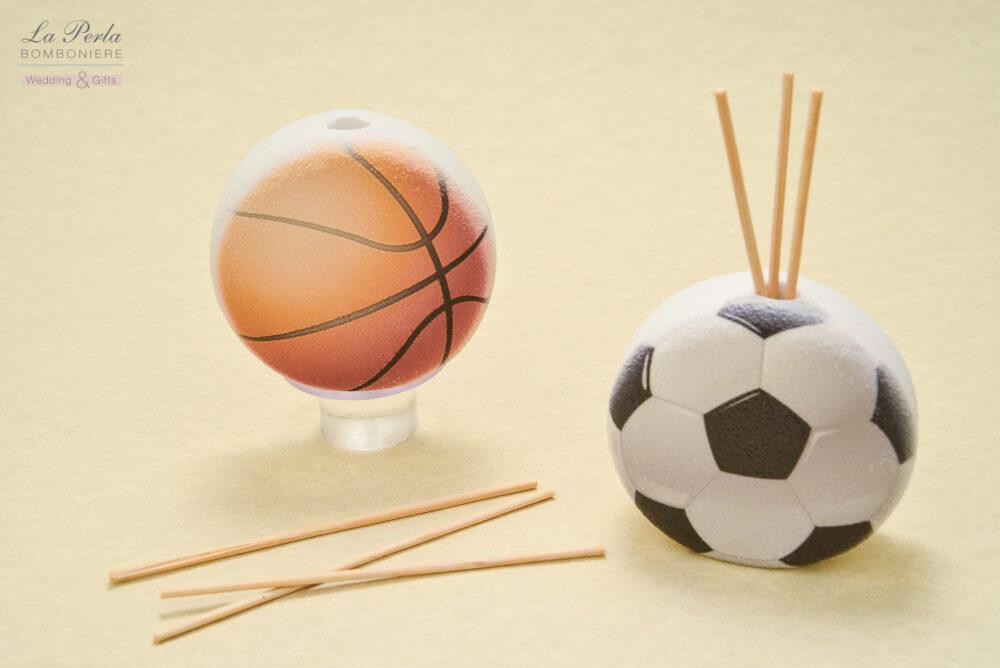 Profumatore a forma di pallone da Basket e da Calcio, in polvere di marmo di Carrara ricomposto, made in Italy.
