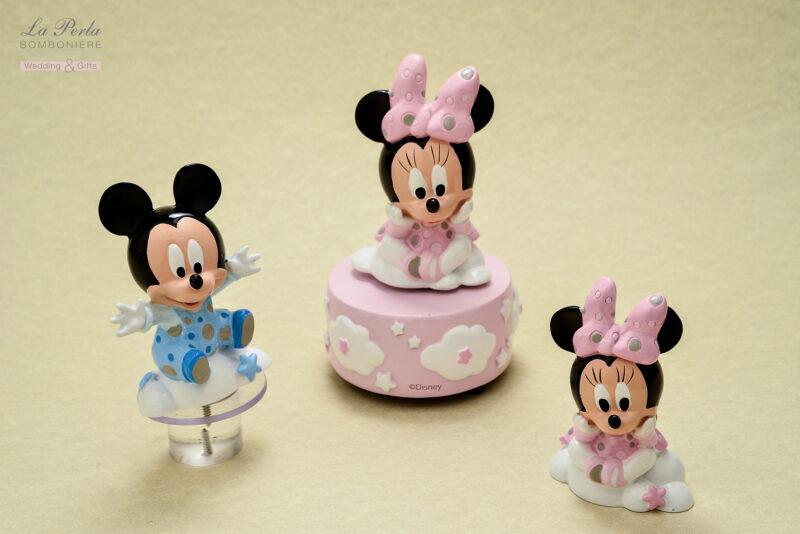 Mickey e Minnie forever. Carillon e statuina in resina lucida originali Walt-Disney.