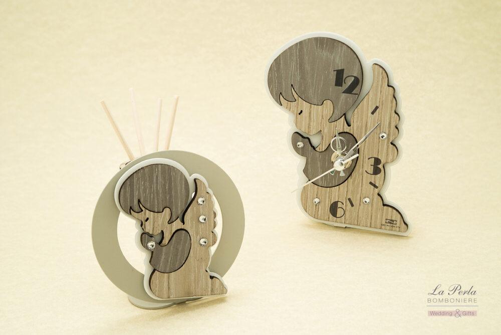 Orologio a forma di Angelo e Profumatore con angioletto in metallo e legno intagliati al laser. Made in Italy.
