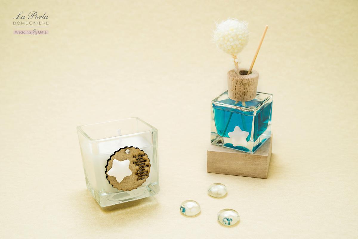 Collezione stelle. Candela con tag in legno con dedica e Profumatore con fragranza orchidea blu e stellina in gesso.