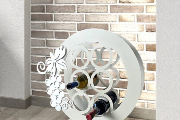 Set 6 Portabottiglie vino in metallo intagliato al laser con decoro UVA magnetico. Cm 55 x 55 x 11,5. Made in Italy con possibilità di personalizzare il colore.