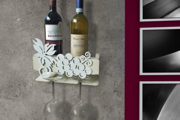 Porta Bicchieri e Porta Bottiglie da parete in metallo intagliato al laser con applicazione UVA magnetica. Cm. 26 x 17,5 x 13. Made in Italy con possibilità di personalizzare il colore.
