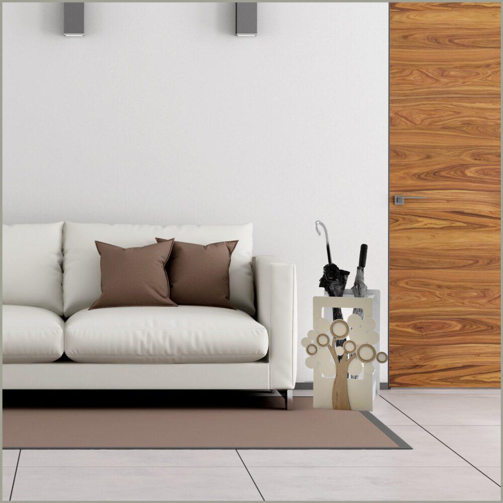 Portaombrelli ALBERO in metallo e legno intagliati al laser con albero calamitato. Possibilità di personalizzare colore e decoro. Made in Italy.